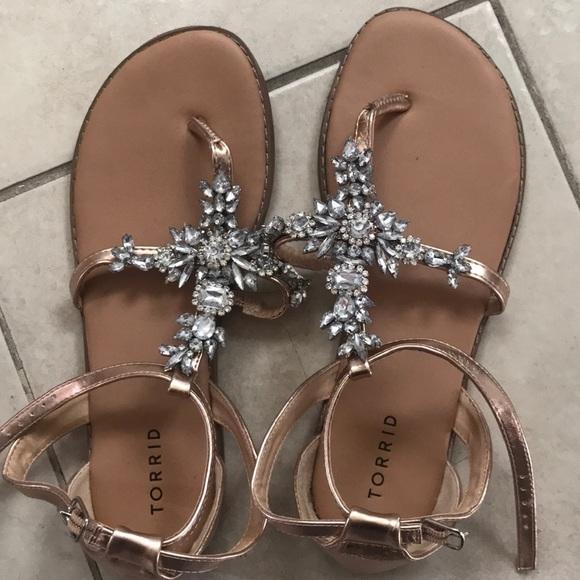c58b98ac815a Torrid wide width Jeweled Sandals. M 5af1ba0ca825a66341a8cc03